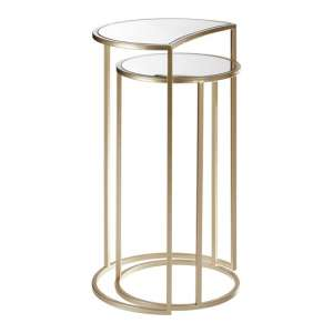 Greven Mirror Top Set of 2 Side Tables In Champagne Steel Frame