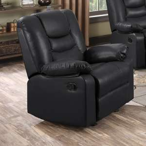 Gruis LeatherGel And PU Recliner 1 Seater Sofa In Black
