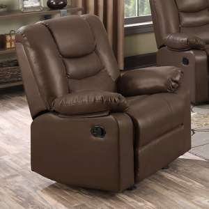 Gruis LeatherGel And PU Recliner 1 Seater Sofa In Dark Chocolate