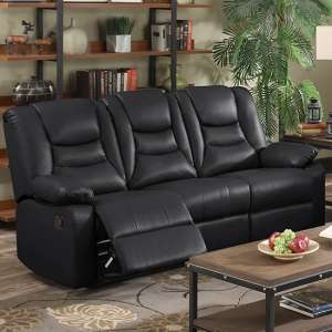 Gruis LeatherGel And PU Recliner 3 Seater Sofa In Black