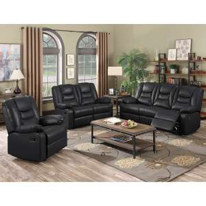 Gruis LeatherGel And PU Recliner Sofa Suite In Black