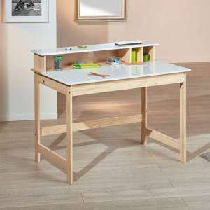 Gudjam FSC Wooden Childrens Writing Desk In Milkyskin White