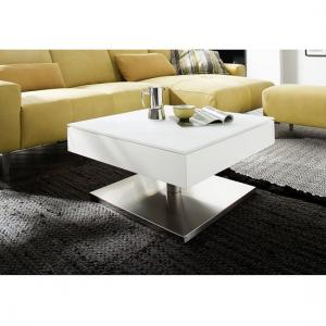 Hadley Storage Glass Coffee Table In Matt White With Metal Base