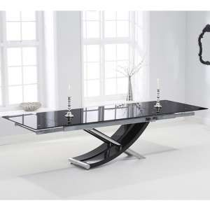 Haedus Glass Extending Dining Table In Black High Gloss
