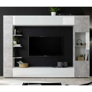 Halcyon White Gloss Large Entertainment Unit In Cement Effect