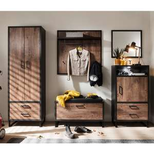 Halifax Wooden Hallway Furniture Set In Barrique Oak
