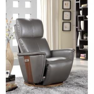 Halifax Electric Recliner Chair In Grey Leather And Walnut Base_1