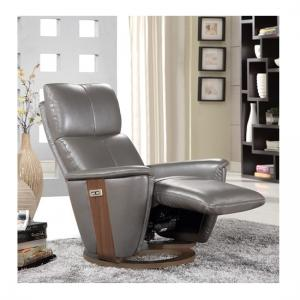 Halifax Electric Recliner Chair In Grey Leather And Walnut Base_2