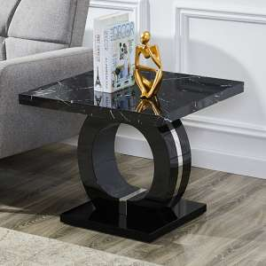 Halo Black High Gloss Lamp Table In Milano Effect