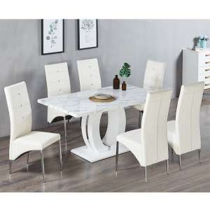 Halo Dining Table In Shiny Vida Finish 6 Vesta White Chairs
