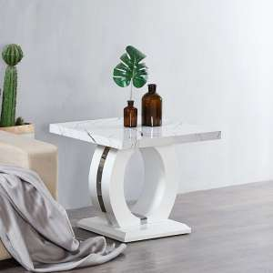 Halo Lamp Table In Shiny Marble Finish And High Gloss White