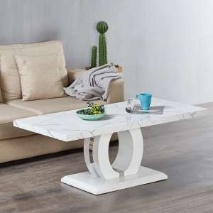 Halo Coffee Table In Shiny Marble Finish And High Gloss White