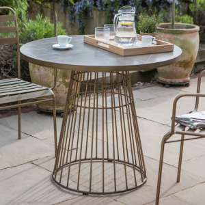Halstow Ceramic Tiles Top Bistro Table In Bronze