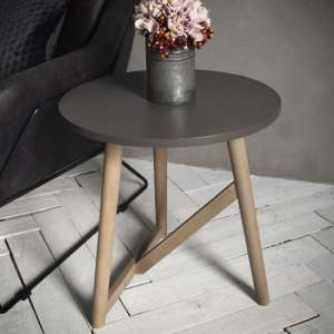 Hamar Round Wooden Side Table In Grey