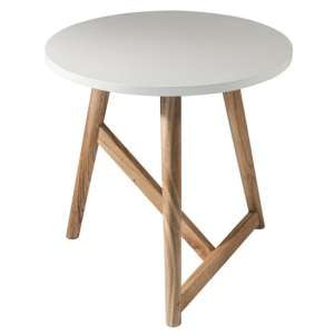 Hamar Wooden Round Side Table In White