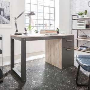 Hamer Modern Computer Desk In Sorrento Oak And Anthracite