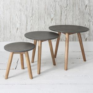 Hamilton Nest of 3 Tables Concrete Finish With Mindy Ash Legs