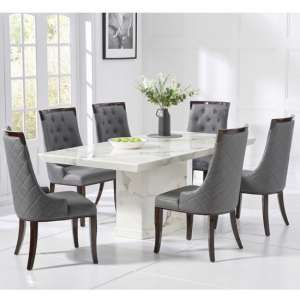 Hamlet Marble Dining Table In White With 4 Tulip Chairs