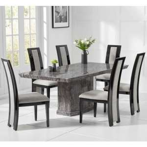 Hamlet Marble Small Grey Dining Table With Four Allie Chairs