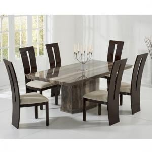Hamlet Marble Dining Table In Brown And 8 Ophelia Cream Chairs