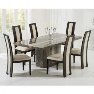 Hamlet Marble Dining Table In Brown With 6 Allie Cream Chairs