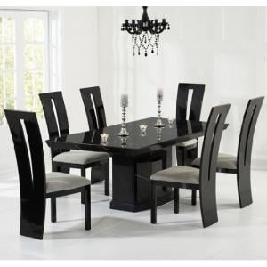 Hamlet Marble Dining Table In Black And 6 Ophelia Grey Chairs