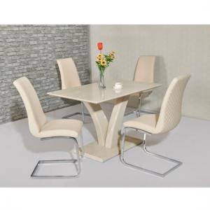 Hanbury Dining Table In Cream High Gloss With 4 Orly Chairs