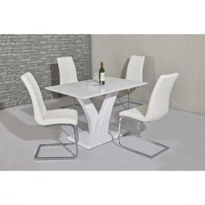 Hanbury Dining Table In White High Gloss With 4 Orly Chairs