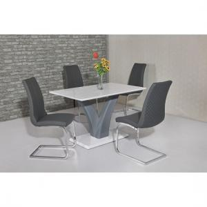 Hanbury Dining Table In White And Grey Gloss With 4 Orly Chairs
