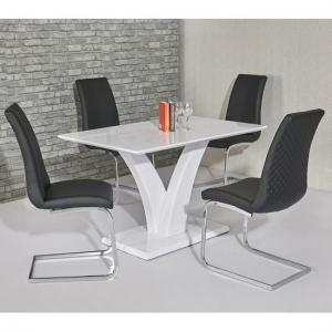 Hanbury Dining Table In White Gloss With 4 Orly Black Chairs