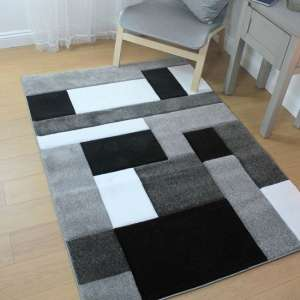 Hand Carved Cosmos Black And Grey Rug