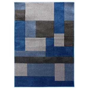 Hand Carved Cosmos Blue And Grey Rug