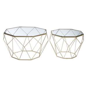 Hannah Set Of 2 Glass Side Tables In Clear With Champagne Base