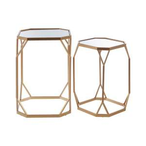 Hannah Set Of 2 Mirrored Glass Side Tables With Champagne Base
