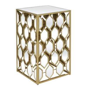 Hannover Mirrored Side Table Large In Gold