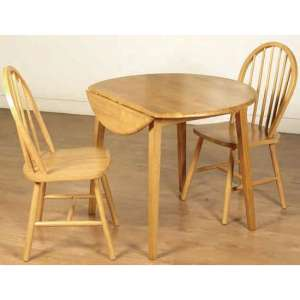 Hanover Round Drop Leaf Dining Set In Light Oak With 2 Chairs