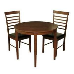 Hanover Round Half Moon Dining Table In Dark Oak With 2 Chairs
