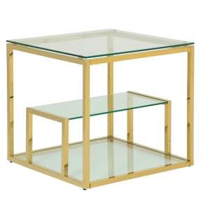 Hansen Glass Lamp Table In Clear With Gold Finish Frame