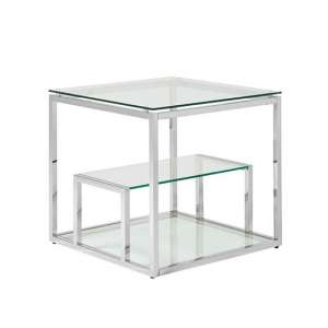 Hansen Glass Lamp Table In Clear And Polished Stainless Steel