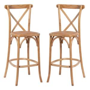 Hapron Cross Back Light Oak Wooden Bar Stools In Pair
