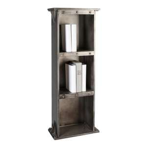 Harbour Wooden Bookcase In Anthracite And Silver With 3 Shelves