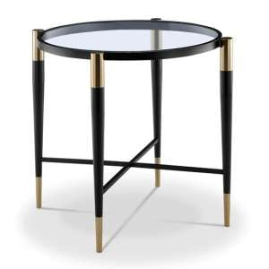 Harlinne Glass Side Table With Black And Brass Legs