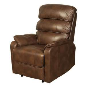 Harmony Leather Recliner Sofa Chair In Two Tone Tan