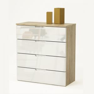 Harold Chest of Drawers In Brushed Oak And White High Gloss