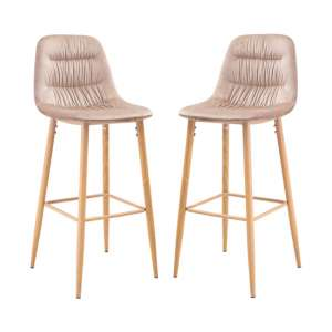 Harper Beige Finish Bar Stool In Pair