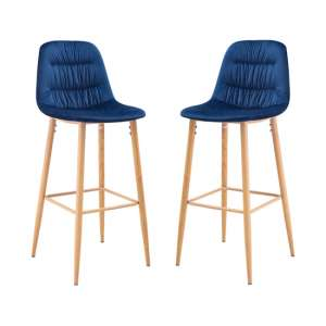 Harper Blue Finish Bar Stool In Pair