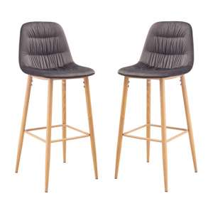 Harper Grey And Silver Finish Bar Stool In Pair