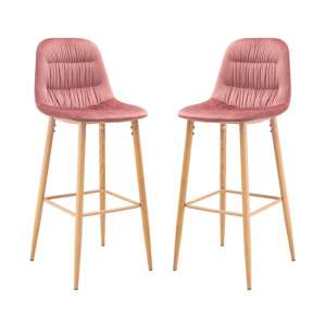 Harper Pink Finish Bar Stool In Pair