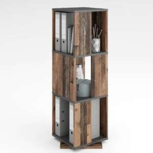 Harper Swivelling Storage Cabinet In Matera And Old Style Dark