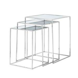 Harris Mirrored Top Nest Of 3 Table And Polished Stainless Steel